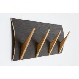 Nástěnný věšák z masivního dřeva Woodman Rack Naki Black Oak Large