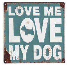 Sada 4 nástěnných kovových dekorací Geese Love My Dog