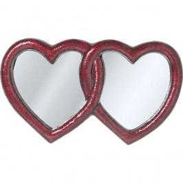 Červená nástěnné zrcadlo  Kare Design Double Heart, 100x165cm