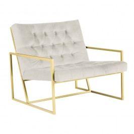 Krémové křeslo s konstrukcí ve zlaté barvě Mazzini Sofas Bono