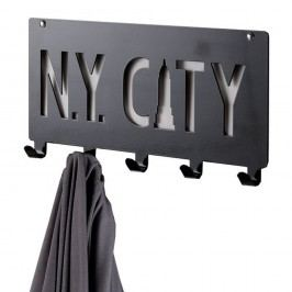 Černý nástěnný věšák s 5 háčky Compactor NY City