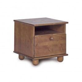 Tmavě hnědý noční stolek z borovicového dřeva Faktum Tomi