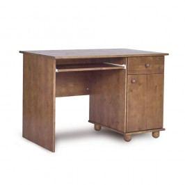 Tmavě hnědý psací stůl z borovicového dřeva Faktum Tomi