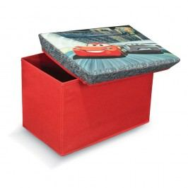 Červená úložná taburetka na hračky Domopak Cars, délka49cm