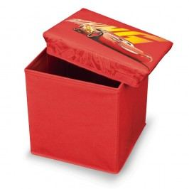 Červená úložná taburetka na hračky Domopak Cars, délka30cm