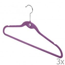 Sada 3 fialových věšáků Domopak Velvet Hangers