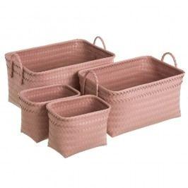 Sada 4 růžových úložných boxů s úchyty Unimasa