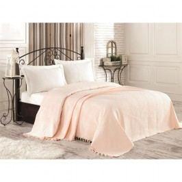 Krémový bavlněný přehoz přes postel na dvoulůžko Tarra, 220 x 240 cm