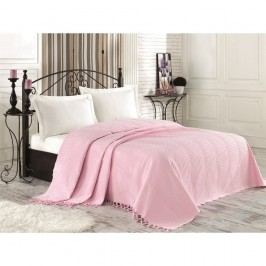 Růžový bavlněný přehoz přes postel na dvoulůžko Clemence, 220 x 240 cm
