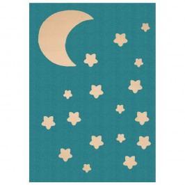 Dětský tyrkysový koberec Zala Living Night Sky, 140 x 200 cm