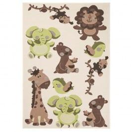 Dětský zelenohnědý koberec Zala Living Animals, 140x200cm