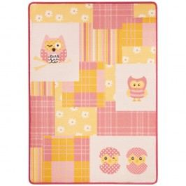 Dětský růžovo-žlutý koberec Zala Living Owl,100x140cm