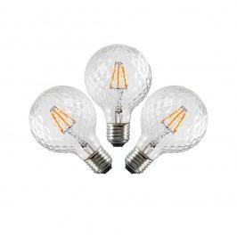 Sada 3 LED žárovek Bulb Attack GLOBE Clear Crystal Linear, 5,5 W