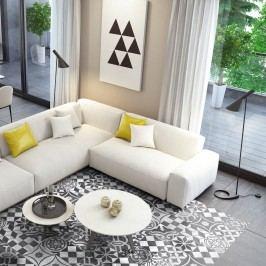 Voděodolná samolepka na podlahu Ambiance Ornament White, 90 x 60 cm