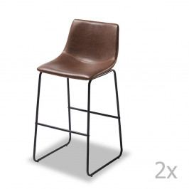 Sada 2 barových tmavě hnědých židlí Furnhouse Indiana