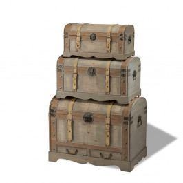 Sada 3 dřevěných dekorativních truhlic Furnhouse Trunks Countryside