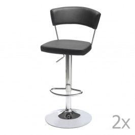 Sada 2 černých barových židliček Furnhouse Preben