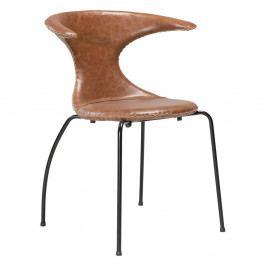 Hnědá kožená jídelní židle s černým kovovým podnožím DAN–FORM Flair