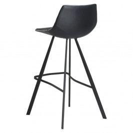 Černá barová židle z eko kůže s černým kovovým podnožím DAN–FORM Denmark Pitch