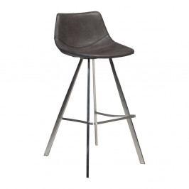 Šedá barová židle s ocelovým podnožím DAN–FORM Pitch