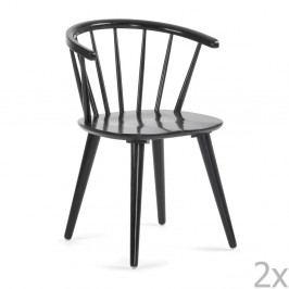 Sada 2 černých jídelních židlí La Forma Krise