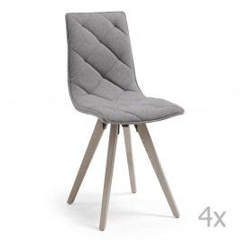 Sada 4 šedých jídelních židlí La Forma Tuk
