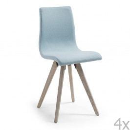 Sada 4 světle modrých jídelních židlí La Forma Una