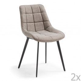 Sada 2 šedých jídelních židlí La Forma Adah