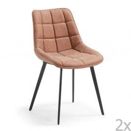 Sada 2 hnědých jídelních židlí La Forma Adah