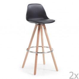 Sada 2 černých barových židlí La Forma Stag