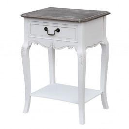 Bílý noční stolek z topolového dřeva s přírodními detaily Livin Hill Rimini