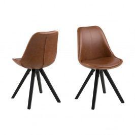 Sada 2 hnědých jídelních židlí Actona Dama