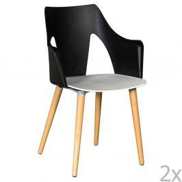 Sada 2 černo-bílých židlí Evergreen House Leggy