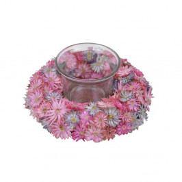 Růžový svícen z kytiček Ego Dekor, ⌀ 12 cm