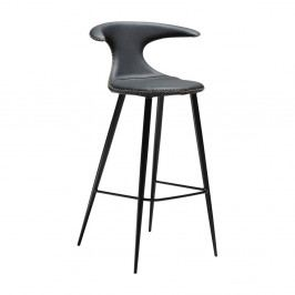 Černá barová židle s koženým sedákem DAN-FORM Denmark Flair
