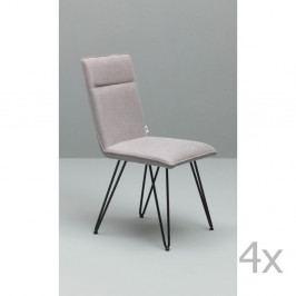 Sada 4 světle šedých jídelních židlí s černým podnožím Design Twist Elice