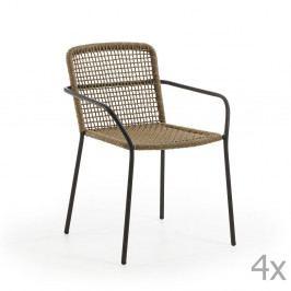 Sada 4 hnědých zahradních židlí La Forma Boomer