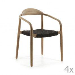 Sada 4 židlí s černým sedákem La Forma Glynis
