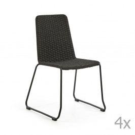 Sada 4 tmavě šedých židlí La Forma Meggie