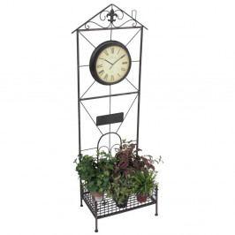 Zahradní stojan na květiny s hodinami ADDU