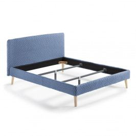 Modrá dvoulůžková čalouněná postel La Forma Lydia Dotted, 200x160cm