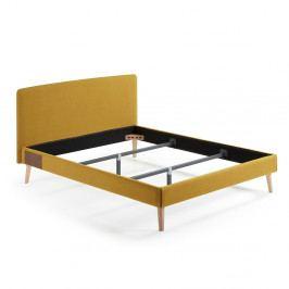 Žlutá dvoulůžková postel La Forma Lydia,200x160 cm