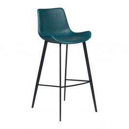 Petrolejově modrá koženková barová židle DAN-FORM Denmark Hype