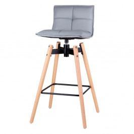 Šedá barová židle s nohama z bukového dřeva sømcasa Janie