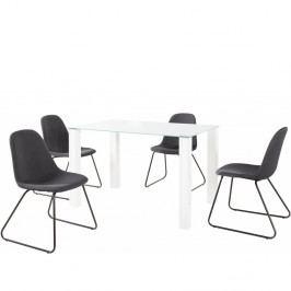 Set bílého jídelního stolu a 4 antracitových jídelních židlí Støraa Dante Colombo