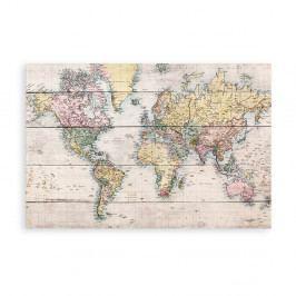 Nástěnná cedule z borovicového dřeva Really Nice Things Mapamundi, 40 x 60 cm