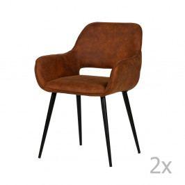 Sada 2 hnědých židlí WOOOD Jelle