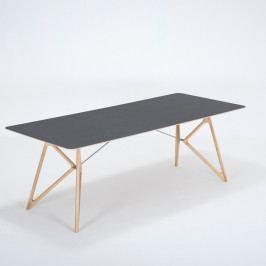 Jídelní stůl z masivního dubového dřeva s černou deskou Gazzda Tink, 220x90cm