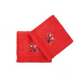 Sada 2 červených vánočních ručníků Winter Love, 70x140 cm