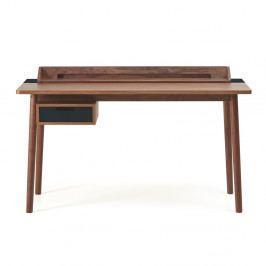 Pracovní stůl z ořechového dřeva s černou zásuvkou HARTÔ Honoré, 140x70cm
